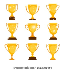 Gold award cups. Cartoon winner cup prizes, golden metal winning trophy icons for sport and games isolated on white background, illustration