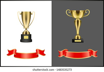 Gold award cups and ribbons for signature, different form trophy for competition reward isolated. raster prize attributes, golden bows on stand