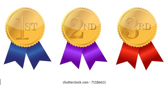 gold award ribbons with place numbers illustration design