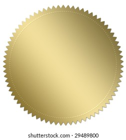 Gold award seal or medal illustration. Isolated on white with copy space. Part of a series of three