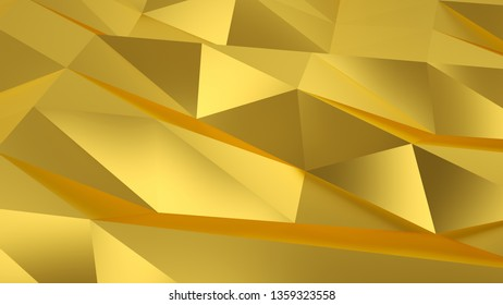Gold background filled with triangular fractures. 3D rendering.