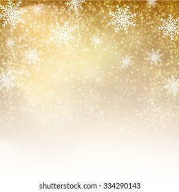 Gold background with  snowflakes. Illustration for  posters, icons, greeting cards, print and web projects. Raster version