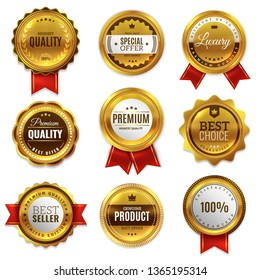 Gold badges seal quality labels. Sale medal badge premium stamp golden genuine emblem guarantee round best seal blank set