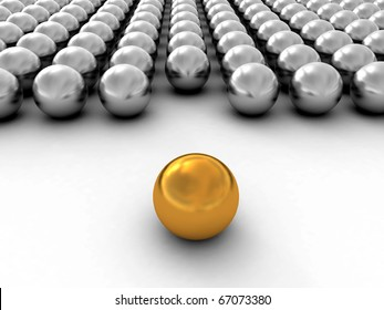 A gold ball in many white balls