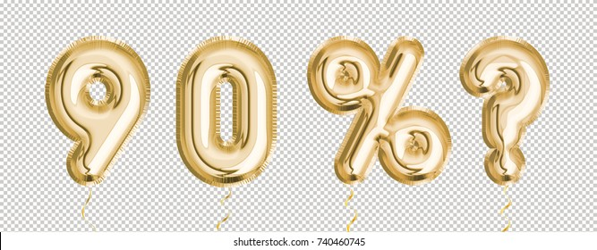 Gold balloon set 9, 0, %, ? made of realistic 3d render air balloon. Collection of balloons number with Clipping path ready to use for your unique decoration with several concept idea in any occasion