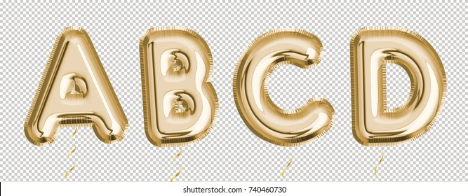 Gold balloon set A, B, C, D made of realistic 3d render air balloon. Collection of balloon alphabet.