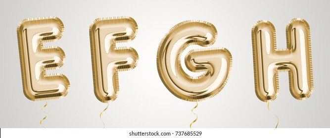 Gold balloon set E, F, G, H made of realistic 3d illustration metallic air balloon. Collection of balloon alphabet  ready to use for your unique decoration in several occasion.