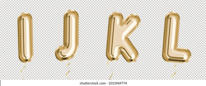 Gold balloon set I, J, K, L made of realistic 3d rendering air balloon. Collection of balloon alphabet with Clipping path ready to use for your unique decoration with several concept ideas.