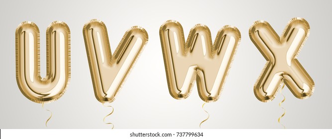 Gold balloon set U, V, W, X made of realistic 3d illustration metallic air balloon. Collection of balloon alphabet  ready to use for your unique decoration in several occasion.
