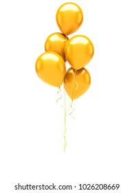 Gold baloons with gold ribbons isolated on white background. 3D illustration of celebration, party baloons