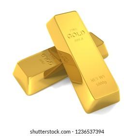 Gold bar isolated on white background, 3d illustration