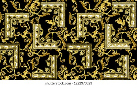 Gold Baroque Gold Bezel Edge Black Floor Pattern