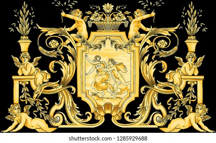 Gold Baroque Black Backround Pattern design