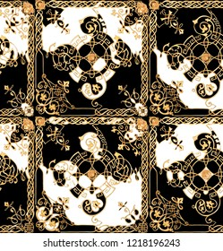 Gold Baroque Black White Background Pattern