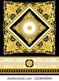 Gold Baroque And Ribbon Black Background Pattern