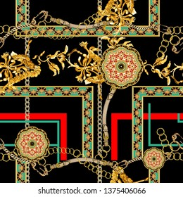 gold baroque shapes, belt, chain, themed print pattern.