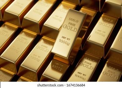 Gold bars 1000 grams. 3d rendering - illustration.