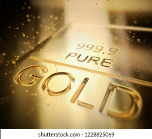 Gold bars 1000 grams. Concept of success in business and finance. 3D illustration.