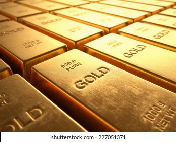 Gold Bars 1000 grams. Concept of wealth and reserve.