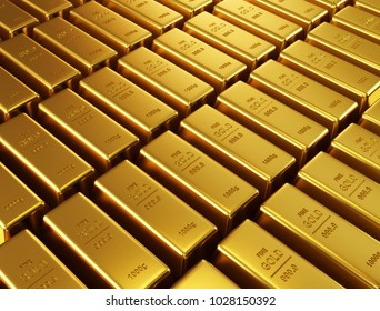 Gold bars. 3d render.
