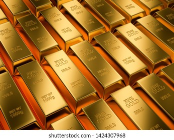 Gold bars background , Financial concept , 3d render