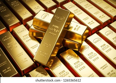 Gold bars in bank vault. Storage. 3d render
