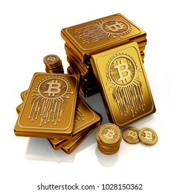 Gold bars in bit currency 3d concept style. 3d render.