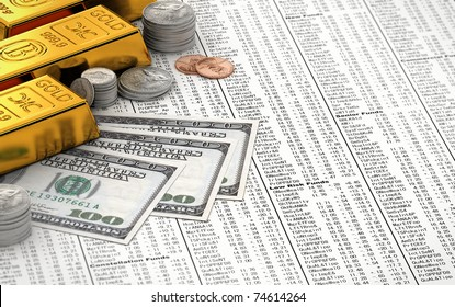Gold bars, coins and hundred dollar bills over stock chart - all logos and the charts are fictional
