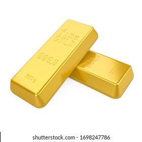 Gold Bars Isolated. 3D rendering