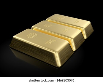 Gold bars on a black background. 3D illustration.