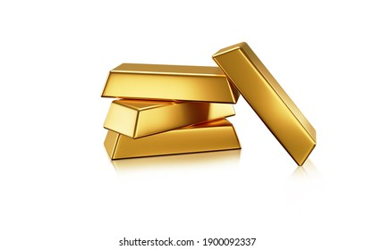 Gold bars is on white background 3D rendering with clipping path