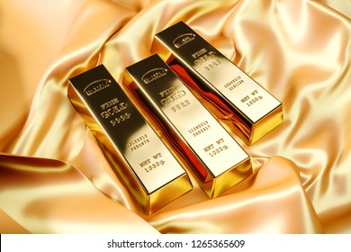 Gold bars on yellow silk cloth. 3d render