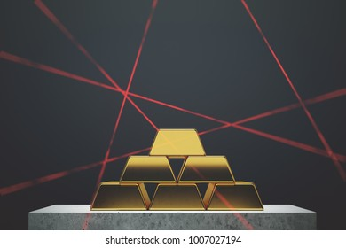 Gold bars pyramid standing against a black wall on a marble table. Laser rays. Concept of savings and economics. 3d rendering mock up