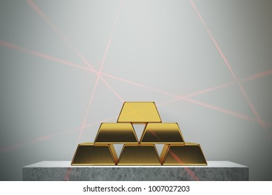 Gold bars pyramid standing against a white wall on a marble table. Concept of savings and economics. 3d rendering mock up