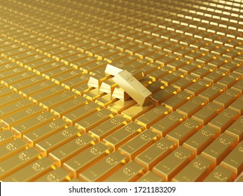 A lot of gold bars stacked in the warehouse. Many bullions closeup. 3d generated image. Financial concepts. many gold bars. Macro view of stacks of gold bars.