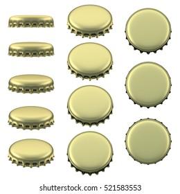 Gold beer bottle caps 3D rendering