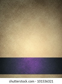 gold beige background or anniversary or wedding background with purple ribbon or bottom bar layout for web template design, has background texture of white scratches on vintage wallpaper color