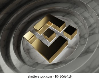 Gold Binance Coin Currency Symbol in the Center of Gray Marble Circles. 3D Illustration of Gold Binance Coin Logo for Good News and Price Is Up or Down.