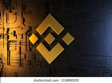 Gold Binance Coin Symbol. 3D Illustration of Gold Binance Coin Logo on The Abstract Background.3D Rendering.