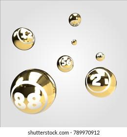 Gold Bingo Balls 3D Render