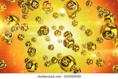 Gold Bingo balls fall randomly on yellow background. Lottery Number Balls. Golden balls. Bingo ball. Bingo golden balls with numbers. 3d illustration.