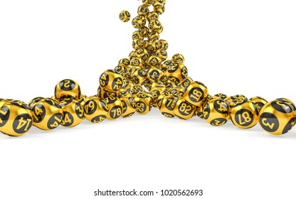 Gold Bingo balls fall randomly on white isonated background. Lottery Number Balls. Bingo golden balls. 3d illustration.
