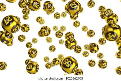 Gold Bingo balls fall randomly on white isonated background. Lottery Number Balls. Bingo golden balls. 3d illustration.