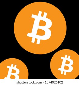 Gold Bitcoin Symbol on Black Background. Digital Currency. Crypto Currency - Illustration, Icon, Logo, Clip Art or Image for Business, Finance or Educational Events