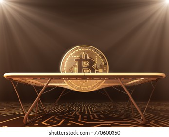 Gold Bitcoin And Trampoline On The Computer Board. 3D Illustration.