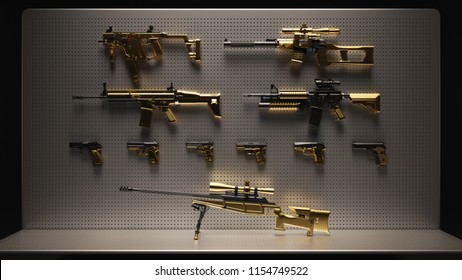 Gold and Black Firearms Display 3d Illustration 3d Rendering
