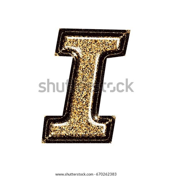 Gold Black Glitter Uppercase Capital Letter Stock Illustration 670262383