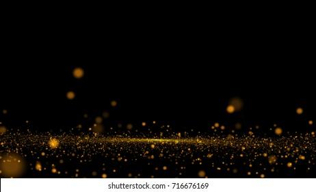 Gold bokeh defocused lights glitter powder splash background. Golden dust. Magic mist glowing.