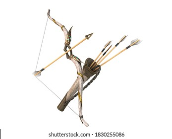gold bow and arrow attributes of the dussehra holiday 3d render white no shadow