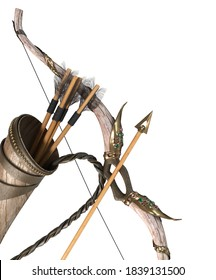 gold bow and arrow attributes of the dussehra holiday 3d render on white no shadow